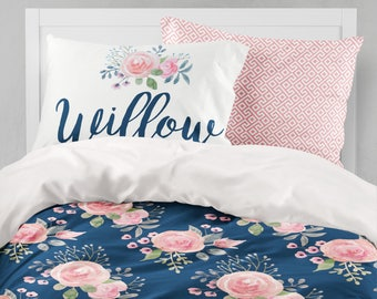 Floral Duvet Cover, Twin Bedding Set, Girls Room, Queen, King, Comforter,  Dorm Bedding, Twin XL, Toddler Bedding, Teen Room, Name Pillow