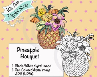 We Are 3 Digital Shop, Pineapple Bouquet, Digital Stamp, Printable