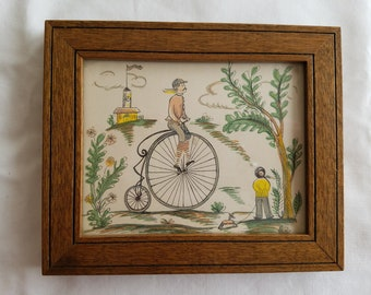 Vintage Very Small Hand-Colored Print, Man Riding Penny-Farthing Bicycle, Framed in Wood