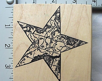 Magenta Star Shape Ancient Map DESTASH Rubber Stamp, Used Rubberstamps