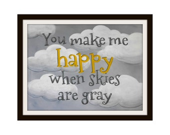 Nursery Prints Nursery Quotes Yellow and Gray Wall Art You Make Me Happy Gender Neutral Nursery Decor - Childrens Room Art for Kids Room