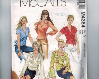 Misses Sewing Pattern McCalls M4384 4384 Misses Tops Wrap Front with Tie Multisize XS Small Medium Size 4 6 8 10 12 14 UNCUT