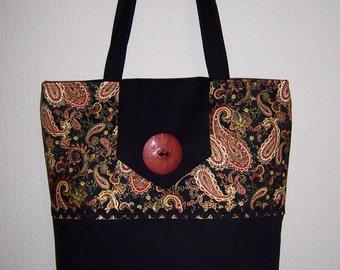 Reduced Tote, Paisley Print Bag, Fabric Totebag, Big Shoulder Bag, Black print Tote