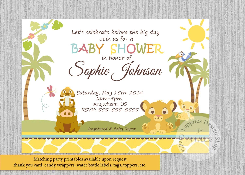 Simba Lion King Baby Shower Invitations Simba Baby Shower