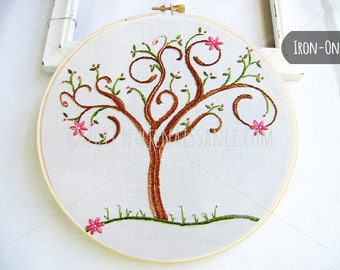IRON-ON transfer Spring Spiral Tree with Flower Blossoms