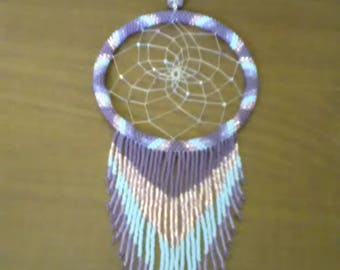 Beaded dream catcher with beads fringe