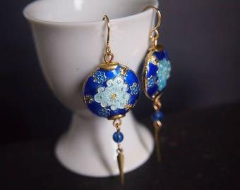 Statement Earrings, Blue Earrings, Cloud, Miss Fisher Jewelry, Dangle Earrings, Blue and Gold, Oriental, Asian, Enamel, Cloisonne, E070