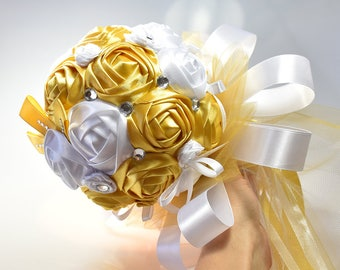 Handmade Golden and White Artificial Wedding Bouquet Gold Bridal Wedding Bouquet