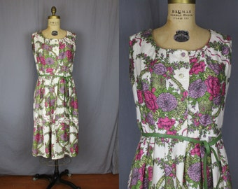 Sleeveless Floral Pink & Green Dress / 60's / medium - large