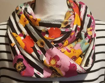 Floral stripe infinity scarf