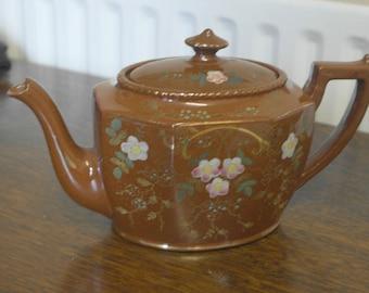 antique hand painted floral decortion english chatsworth tea pot