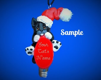 black and white Santa Cat Christmas Light Bulb Ornament Sally's Bits of Clay PERSONALIZED FREE with cat's name