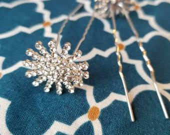 Fast Ship - Set of 2 Crystal Hair Pins,Wedding Hair Pins,Beaded Bobby Pins,Hair Pins, Crystal Hair Sticks