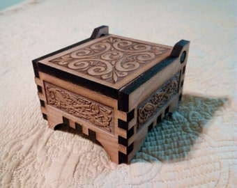 Jewelry Box gift box Laser Engraved Alder Wood