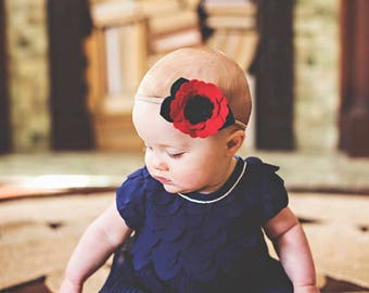 Photo Prop Headband - Infant Headband - Baby Girl Headband - Baby Headband - Red Poppy Flower Headband