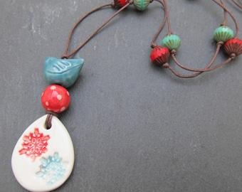 Snowflake jewellery, Scandi pendant, bird necklace, artisan jewelry