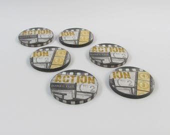 Round wooden deco Action movie coasters