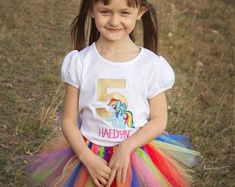 My Little Pony Birthday Shirt- MLP Party - Embroidery Shirt- Birthday Outfit- Themed Birthday- Rainbow- Birthday Shirt- Clothing- Pony Party
