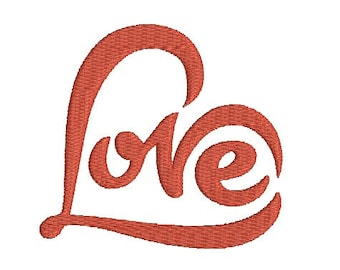 Love text in heart shape machine embroidery design Instant Download