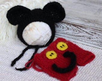 Knitting/Crochet PATTERN- Knitted Mickey Mouse Bonnet and Short Pants, Newborn Sized