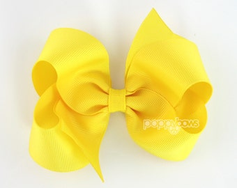 Yellow Hair Bow 4 Inch Bows Baby Toddler Girl - Solid Color Boutique Bow on Alligator Clip Barrette