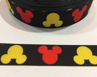3 Yards of Ribbon - Inspired by Mickey Mouse Heads 7/8 inch Wide