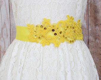 Yellow Sequins and Beaded  Lace Sash, Bridal Yellow Sash, Bridesmaid Sash ,Flower Girl Sash, Yellow Sash Belt ,SH-40