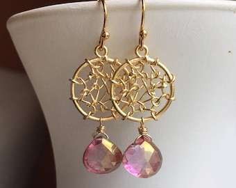 Dreamcatcher Earrings in Posy Mystic Quartz, Golden Dreamcatcher Earrings, Gemstone Earrings