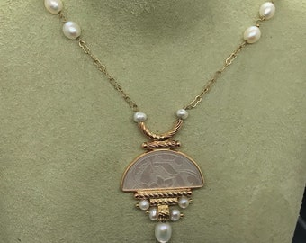 Asian inspired jewelry set, pendant and earrings, all 14k. Class.