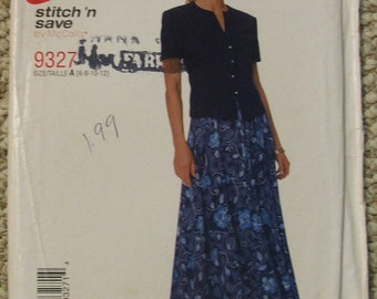 McCalls 9327 Misses Skirt and Blouse Sizes 6-8-10-12