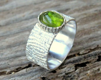 Tree Bark Ring, Sterling Silver Ring, Peridot Ring, Woodland Ring, Tree Ring, Gemstone Ring, Nature Lover Ring, Rustic Ring, Gift for her