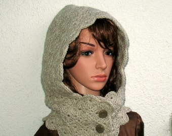 Hooded Scarf - Hooded cowl - Crochet Hood Beige Melange - Crochet scoodie scarves -  Hood Scarf - Crochet Hood Scarf - Winter hat