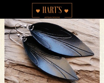 Black Leather Argentium Silver Earrings