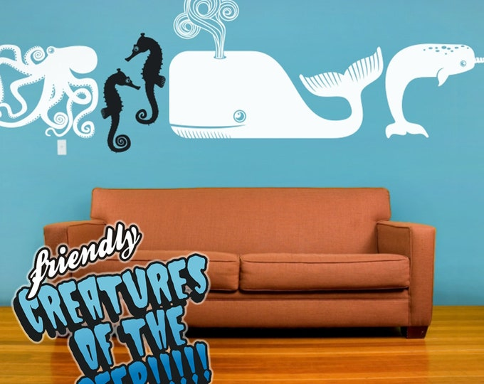 sea creatures wall decal set, octopus decal, whale decal, seahorse decal, narwhal decal, ocean animals art, animal stickers