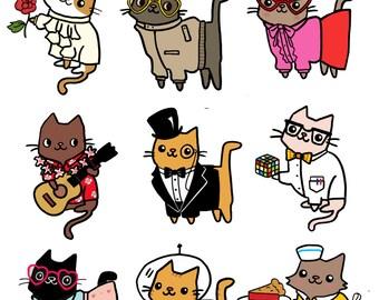 Funny Stickers Cute Cat Sticker Sheet Planet Kitty Funny Gift Idea Super Kawaii Sticker Cute Cats