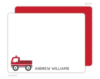 Fire Truck Note Cards - Personalized Flat Note Cards - Firetruck Notecards - Kids Stationery - Thank You Cards - Fire Truck Stationery