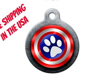 Captain America Pet Engraved Pet ID Tag - Personalized Engraved Dog Tag - Custom Hero Tag