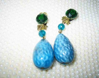 Vintage 40s Art Glass Dangling Earrings Clip on Germany
