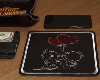PU leather embroidered table tray Two bears