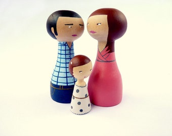 Personalized Family Dolls of 3 Custom Portrait - FREE SHIPPING Wooden hand painted father mother mom child girl boy