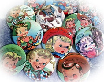 Cowboy and Cowgirl Vintage Children 2.25 Pinback buttons or Magnets, Set of 12  for Birthday Party Favors and Gifts