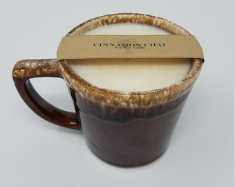Cinnamon Chai Scented Soy Wax Candle in Vintage Stoneware Coffee Cup