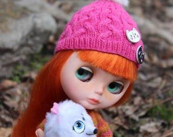 Blythe pink hat Knit hat for Blythe Aran pink hat cat buttons fur pompon