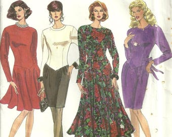 Simplicity 8000 Easy to Sew Drop Waist Flared & Slim Skirt Dress Sewing Pattern Size 4 - 6 - 8