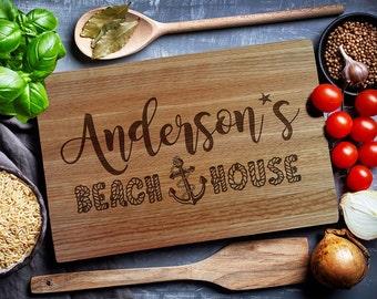 Custom Cutting Board, Personalized cutting Board, BEACH HOUSE, Housewarming Gift, Chopping Board, Cheese board (126)