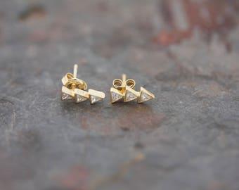 Triple triangle post earrings