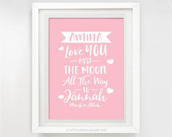 Past The Moon To Jannah (Girl), Personalised with a child's name, Customised Islamic Art Print, Nursery Decor, Modern Islamic Wall Art