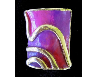 Ceramic Pin/Brooch * Modern Art * Early Amy Lacombe Brooch * 1988