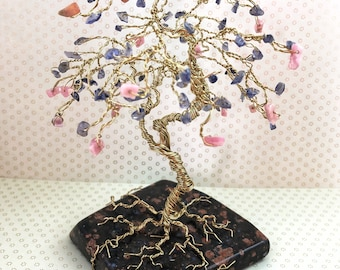 Gem Tree Sculpture, Wire Gemstone Art, Iolite & Rhodochrosite on Llanite Rock, Gold Tree, Gifts for Mom, Gifts for Her