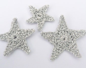 Crochet stars, Christmas appliques, 3 silver applique stars , cardmaking, scrapbooking, appliques, craft embellishments, sewing accessories